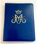(NO 18) A4 Ring binder leather folder Blue with Maria designt