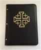 (NO 9) A4 pocketed sleeves leather folder black with cross design