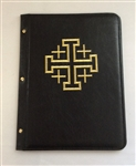 A4 pocketed sleeves leather folder black with cross design
