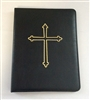 A4 Ring Binder Leather Folder Black with Cross