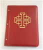(NO 3) A4 Pocketed sleeves leather folder Red,Cross design