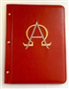 A4 Pocketed sleeves red leather folder alpha and omega design