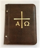 (NO14) A5 Pocketed sleeves brown leather folder alpha and omega design