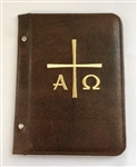A5 Pocketed sleeves brown leather folder alpha and omega design
