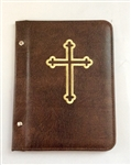 A5 Pocketed sleeves in brown leather folder cross design