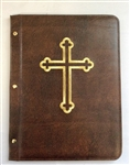 A4 Pocketed sleeves leather folder dark brown cross design