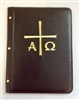 (NO 7) A4 Pocketed sleeves leather folder black cross design