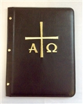A4 Pocketed sleeves leather folder black cross design