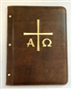 (NO 6) A4 Pocketed sleeves leather folder brown cross design