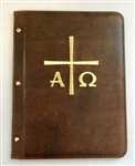 A4 Pocketed sleeves leather folder brown cross design