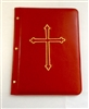 (NO 5) A4 Pocketed sleeves leather folder red cross design