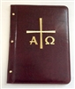 (NO 4) A4 Pocketed sleeves leather folder maroon alpha and omega  design