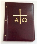 A4 Pocketed sleeves leather folder maroon alpha and omega  design
