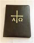 A4 Ring Binder Leather Folder Black with Alfa Omega