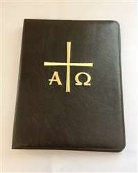 (NO 25) A4 Ring Binder Leather Folder Black with Alfa Omega