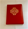 (NO 22) A4 Ring Binder Leather Folder Red with Jerusalem Cross