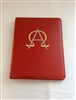 (NO 24) A4 Ring Binder Leather Folder Red with AO Design