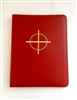 (NO 17) A4 Ring Binder Leather Folder Red with Cross and Circle