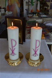 Pair of Nylon Candles with Brass Candle Holder