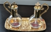 Magnetic Cruet Set on Pewter Gold Tray
