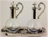 Magnetic Cruet Set on Pewter Silver Tray