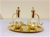 Glass Cruet Set on Brass Gold Tray