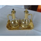 Cruet Set with Gold Tray