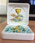 Squared box with rosary beads (blue)