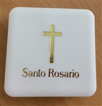 Squared box with rosary beads (pink)
