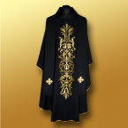 Black IHS Chasuble & Stole