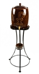 Ceramic Holy water container and stand (Brown)