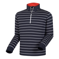 FootJoy Men's Layering-   Double Layer Stripe Half-Zip Mid Layer