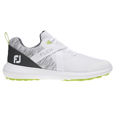 FootJoy FJ Flex Spikeless Shoes, White/Grey