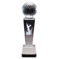Crystal Golfball on Pedestal w/ Male 3D laser graphic