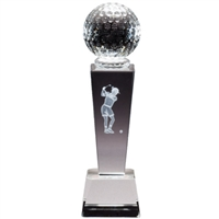 Crystal Golfball on Pedestal w/ Female 3D laser graphic