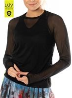 Lucky in Love Women's Layer Up Mesh LS – Black