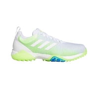 adidas Mens CodeChaos Golf Shoes, Cloud White/Green/Blue