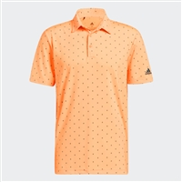 adidas Ultimate365 Printed Polo Shirt, Acid Orange/Wild Teal