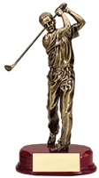 9.75″ Bronze driving golfer on rosewood finish base