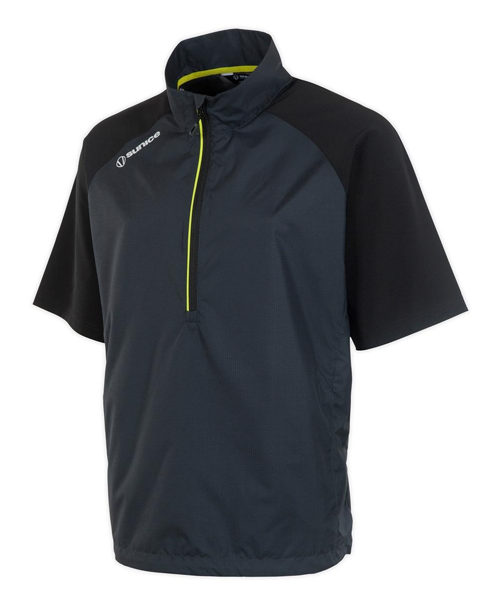 00d496cd2 Sunice Westchester Stretch Half-Zip Short Sleeve Wind Shirt, Charcoal/Black