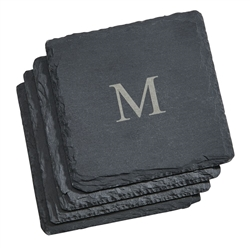 Personalized natural slate coaster set | affordable wedding party gift