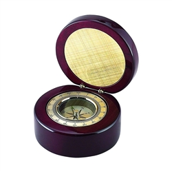 Personalized Gold Compass in Round Box with Rosewood finish