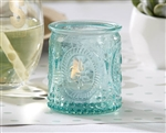 Add these vintage aqua glass tea light holders to your reception table