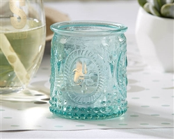 Vintage Blue Glass Tea Light Holder Set