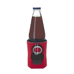 Affordable collapsible koozie with attached bottle opener