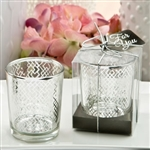 Silver Mercury Candle Holder with Modern Geometric Design