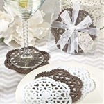 These beautifully packaged lace-like felt coaster sets make great wedding party gifts or favors