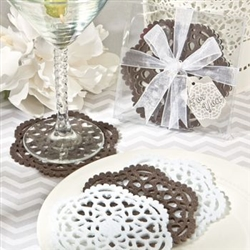 Set of 4 lace design felt coasters wedding favor or gift | affordable gift