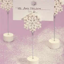 Snowflake shaped place card holders