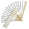 Elegant White Folding Fan in Paper and Wood